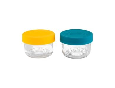 Kilner® Set of 2 125ml Snack and Store Pots with silicone lids.