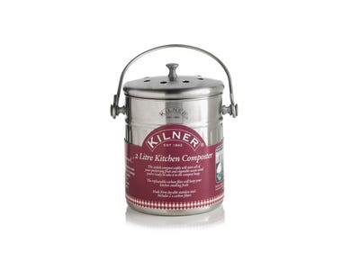 Kilner® Stainless Steel 2 Litre Kitchen Composter with label