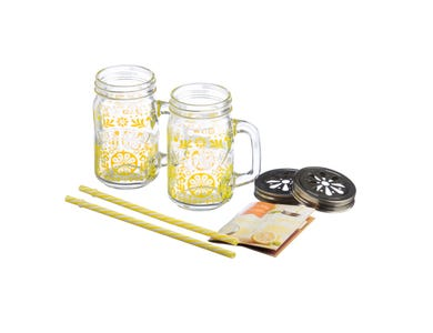 Kilner® 7 Piece Lemonade Set. Contains 2 decorated glass handled jars, 2 solid plastic straws, 2 flower lids and a guide book.