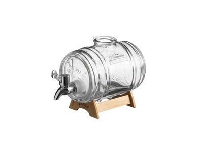 Kilner® 1 Litre Barrel Dispenser on wood stand.