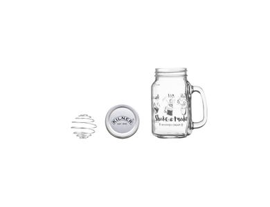 Kilner® Shake & Make Whipping Cream Set. Decorated glass handled jar, screw top lid and metal ball shaker.